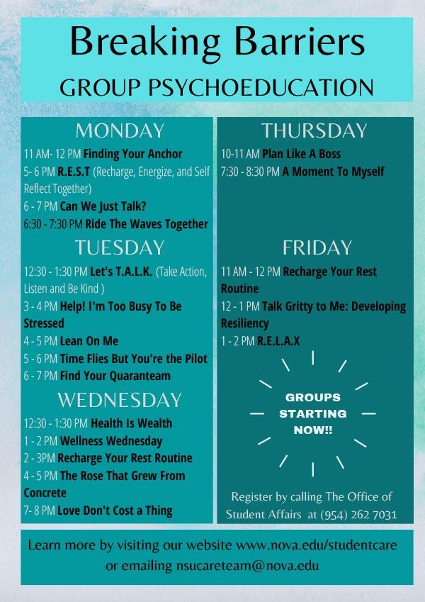 NSU Group Schedule 1