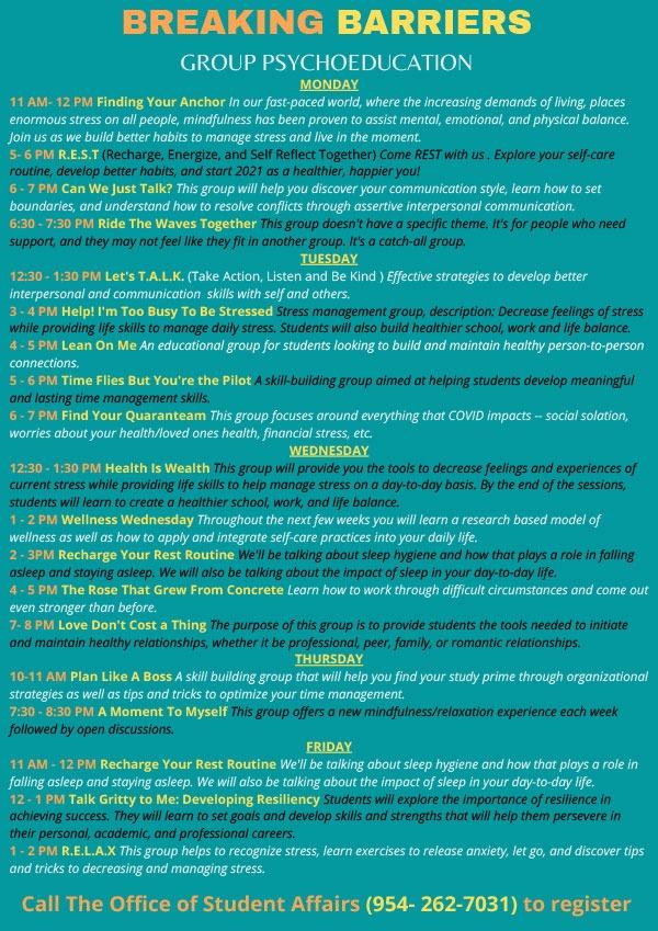 NSU Group Schedule 2